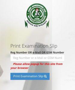 JAMB 2021 Exam Slip Reprinting